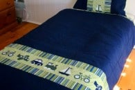 Planes Trains and Automobiles Quilt Cover. Great idea for a quilt for boys. Love the applique details.