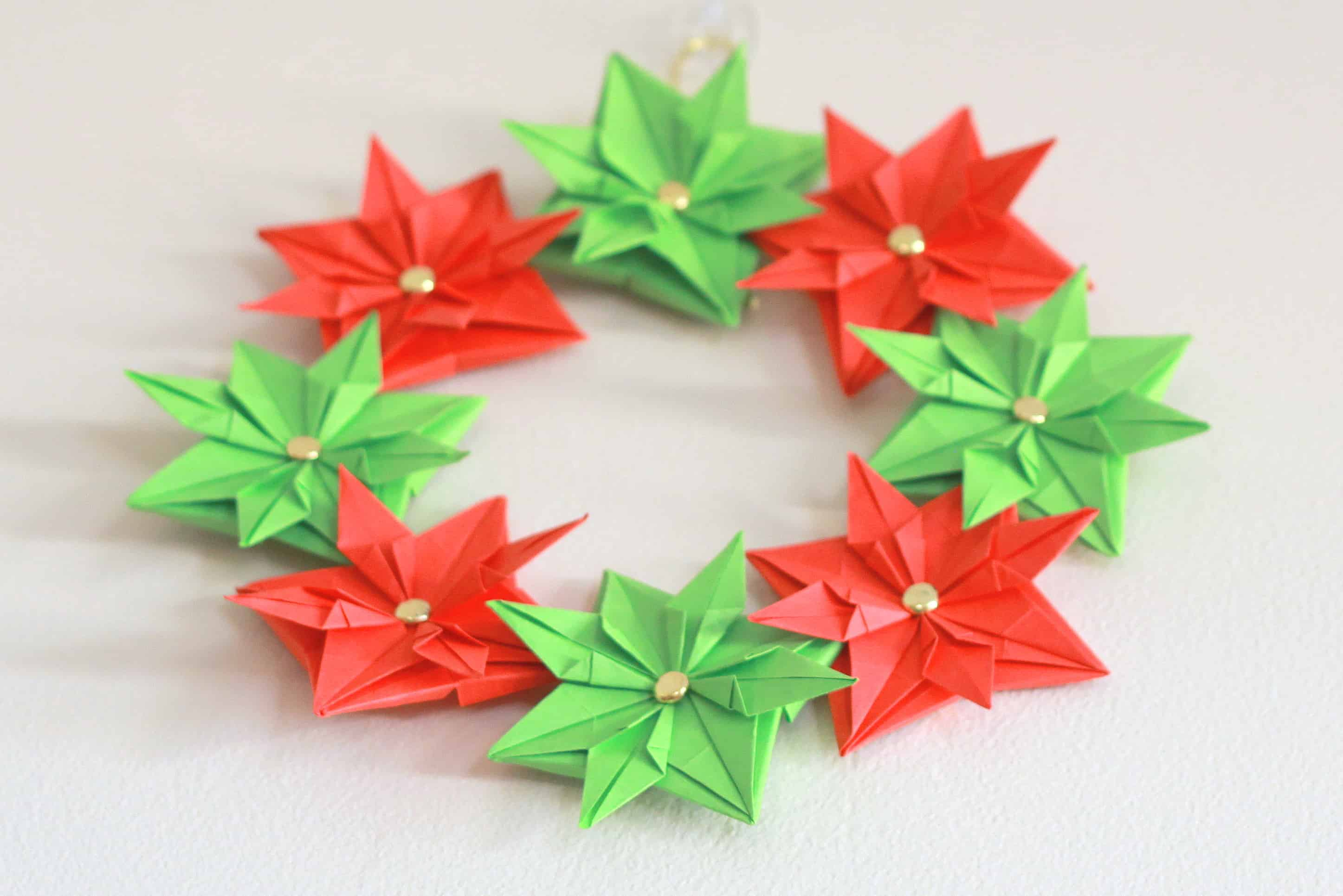 Origami Christmas.Paper Christmas Wreath Mini Tutorial Cook Clean Craft