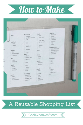 Are you sick of writing your shopping lists on scraps of paper? Create a DIY reusable shopping list. Added bonus, it prompts you to buy the products you regularly need.