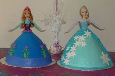 Anna and Elsa Doll Cakes