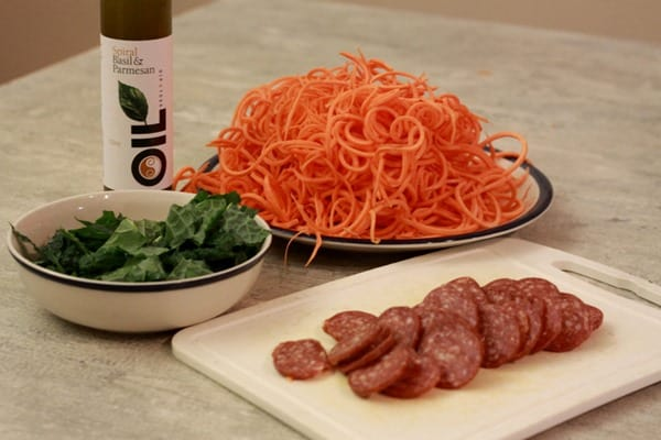 Sweet Potato Pasta with Salami and Kale (3)