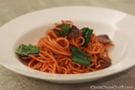 Sweet Potato Pasta with Salami and Kale