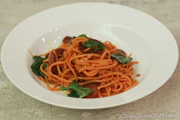 Sweet Potato Pasta with Salami and Kale (8)