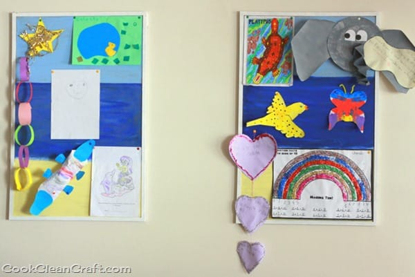 Painted Corkboard Art Display