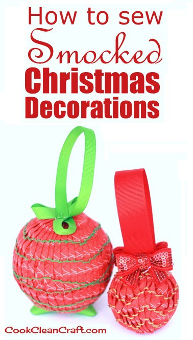 How to sew Smocked Christmas Tree Decorations - make your own DIY Christmas baubles with this fun tutorial.