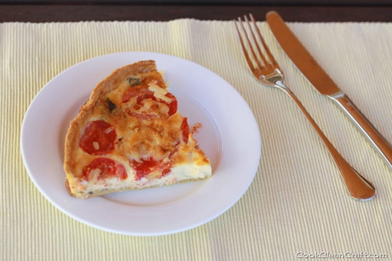 Tomato and Basil Quiche | Cook Clean Craft