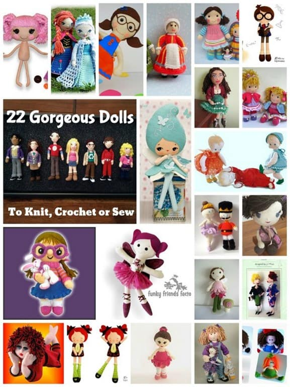 22 Gorgeous Dolls to knit, sew or crochet | Cook Clean Craft