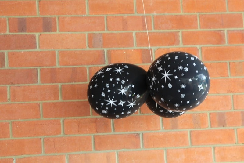 Space Themed Decorations Part - 36: Black Balloons With Stars