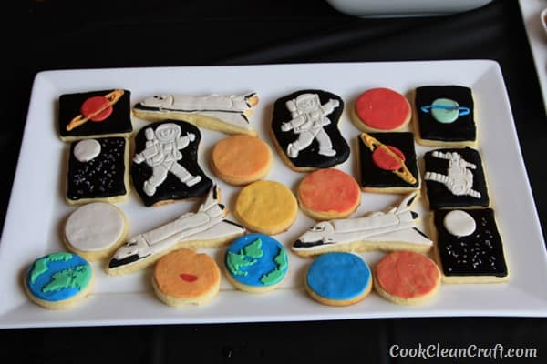 Space and Planet Sugar Cookies - space themed birthday party food