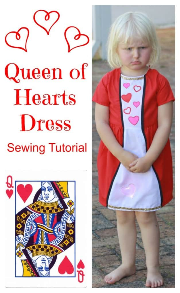 How to sew a cute Queen of Hearts dress. Inspired by the card  game. Cute DIY little girls dress for Valentine's Day.