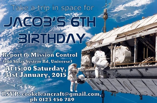 Space Party Birthday Invitation