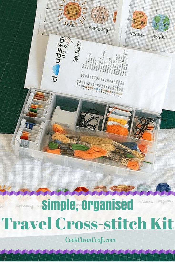 Travel cross-stitch or embroidery kit - an organised way to keep your latest cross-stitch project close by. Fits in a handbag too!