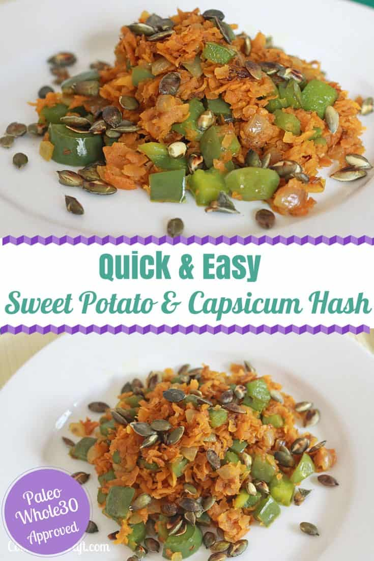 This Sweet Potato and Capsicum (Pepper) Hash makes a great Paleo, Whole 30 breakfast. Lovely warming winter food to fill up your tummy!