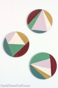 How to make hand-painted geometric coasters. A quick DIY decorating project.