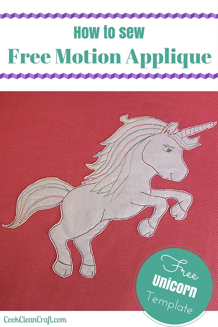 How to free motion applique. Great tool for embellishing clothing, cushions or quilts. Includes free unicorn template.