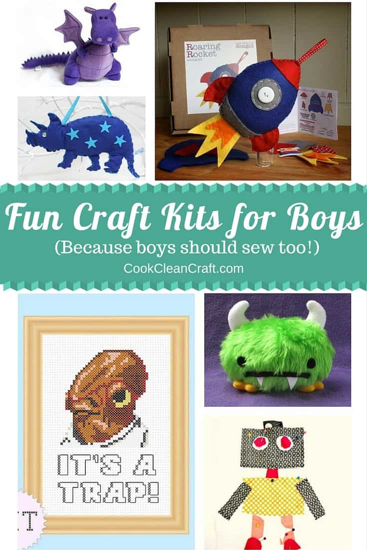 Fun craft kits for boys - because boys need sewing kits too. Teach boys to sew!