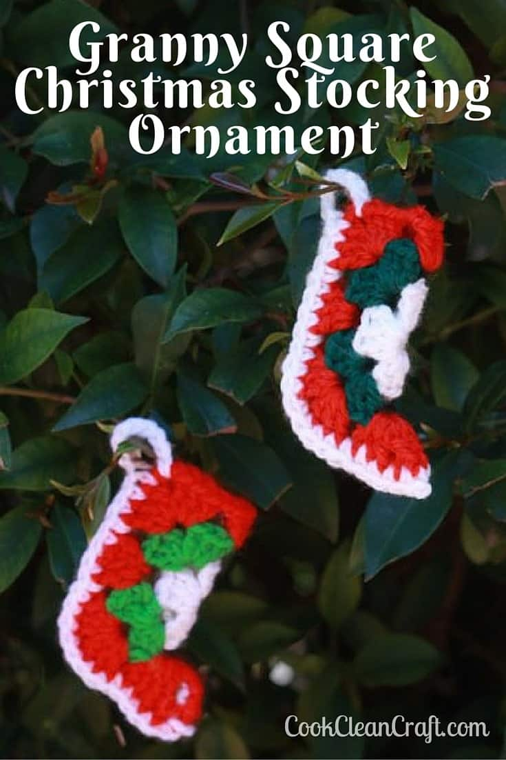 How to crochet a Granny Square Crochet Christmas stocking ornament with free pattern. Cute little ornament for the Christmas tree (or make into bunting for the mantle). They even fit a packet of Lifesavers!